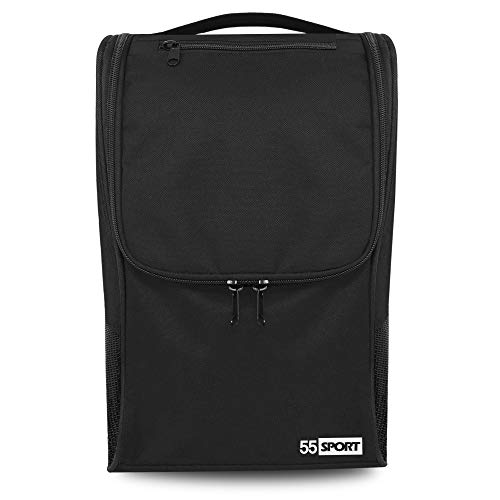 55 Sport Ventilated Shoe Bag with Zipped Pocket - Black
