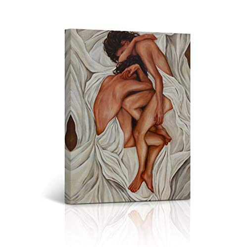 Buy4Wall Nude Lesbian Couple Oil Painting Canvas Print Nude in White Sheets LGBT Love Sexy Naked in The Bed Decorative Wall Art Decor Artwork -%100 Handmade in The USA - 40x30