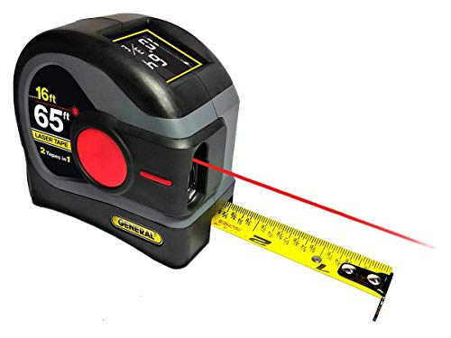 General Tools LTM2X Laser Tape Measure 2-in-1, 65 Ft Laser Measure And 16 Ft Tape Measure with Large, Easy to Read Backlit Digital Display, (Model: LTM2X-GY-A)