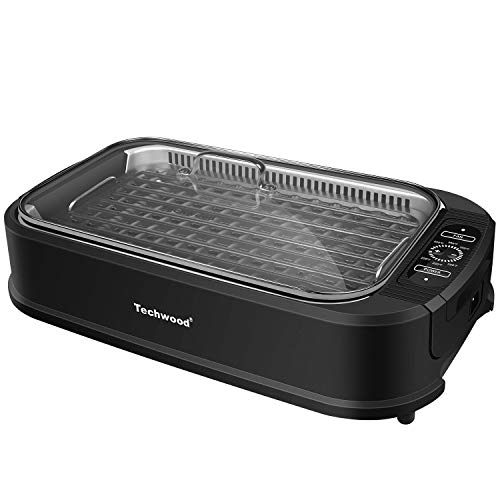 Techwood Indoor Smokeless Grill 1500W Power Electric Grill with Tempered Glass Lid, Compact & Portable Non-stick BBQ Grill withTurbo Smoke Extractor Technology, LED Smart Control panel