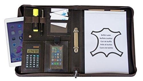 Conférencier Cuir A4 élégant I Porte Documents avec Bloc-Notes & Calculatrice I Organiseur + Classeur pour Homme & Femme, marron, de K.DESIGNS