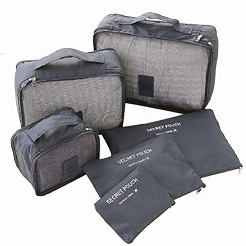 Wakauto 6 Pcs Étanche Voyage Sacs de Rangement Vêtements Emballage Organisateur Sac Cube Bagages Organisateur Pochette Chaussures Sac de Rangement (Gris)