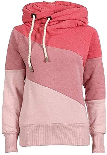 Qingxian truien dames hoodie tops sweatshirt patchwork trui sweatvest met capuchon met koord en coltrui Roze XL