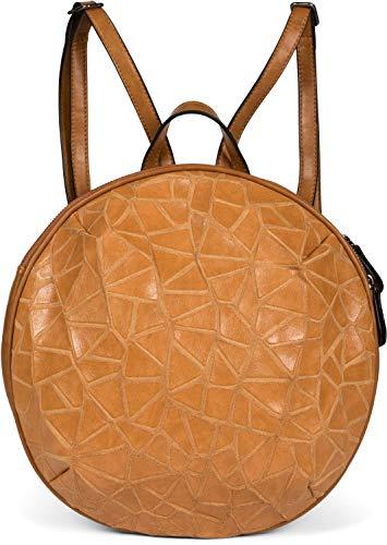 styleBREAKER Damen Rucksack Handtasche Rund mit Oberfläche im Prisma Look mit Reißverschluss, Tasche 02012325, Farbe:Camel