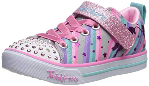 Skechers Kids Girls' Sparkle LITE-Magical Rainbows Sneaker, Grey/Multi, 8 Medium US Toddler