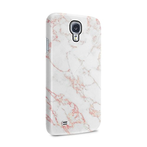 White & Raspberry Pink Strips Marble Print Hard Plastic Phone Case for Samsung Galaxy S4