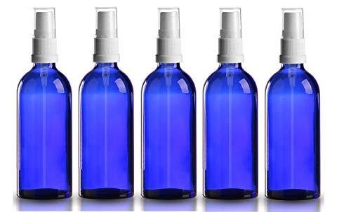 5 x Blauglasflasche 100ml royalblau / Sprühflasche inkl. Pumpzerstäuber / Sprühkopf weiss DIN 18 mit transparenter Schutzkappe ***Apothekenqualität, gefertigt nach dem Europäischen Arzneibuch***