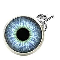 (B)[グリーンピアッシング]キャッチピアス スタッドピアス レディース カボション(ドラゴンアイ) ステンレスピアス 1個販売 片耳 シングルピアス 丸型 目玉 眼球 青い目 人気