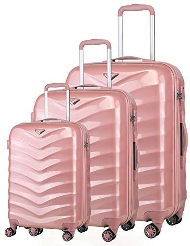 Verage Hartschalenkoffer Seagull 3er Koffer-Set S+M+L (55-66-75 cm) 4 Räder Rosegold Limited Edition TSA-Schloss, 3 teilig Hartschale-Reisekoffer-Set mit Handgepäck Trolley, erweiterbar