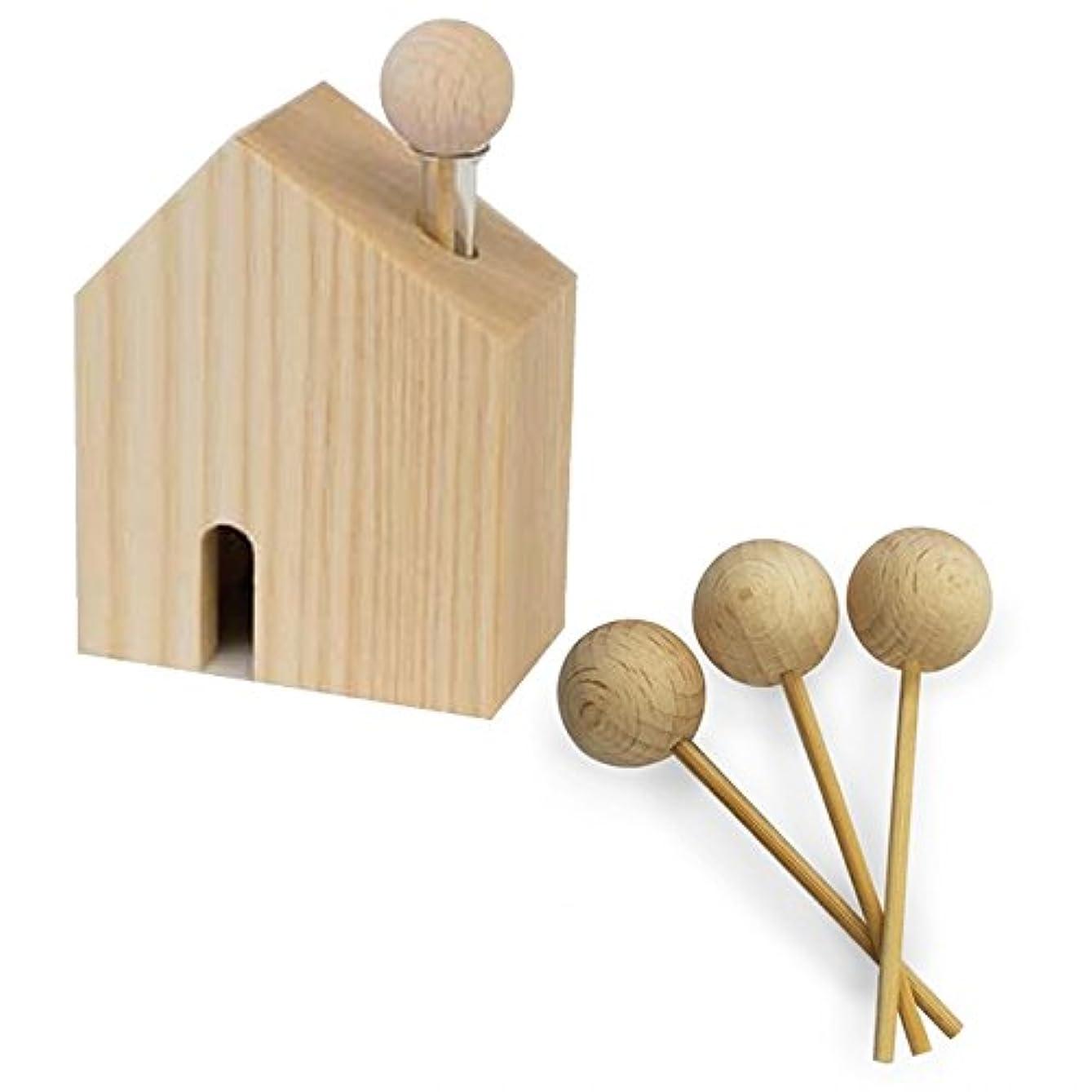 段階アルバムどんよりしたHARIO ハリオ アロマ芳香器 木のお家 交換用木製スティック3本付