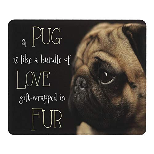 Puppy Pug Dog Gaming Mouse Pad, Non-Slip Rubber Base with Stitched Edge Mat, Mousepad for Laptop Computer 25 x 30 cm