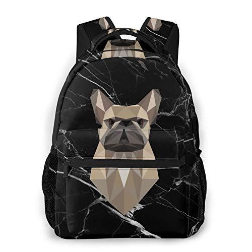 Waterproof Frenchie Black Backpack Middle School Daypacks for Teens Boys Girls