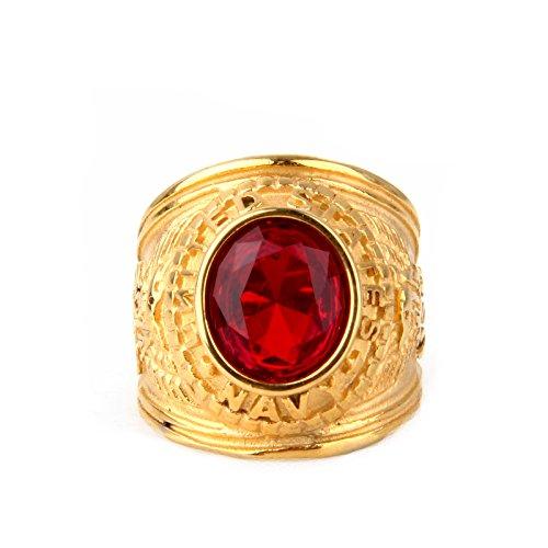 COPAUL Schmuck Herren-Ring,Zirkonia Diamant Edelstahl,Adler US Army,Farbe Gold Rot,Größe 62 (19.7)