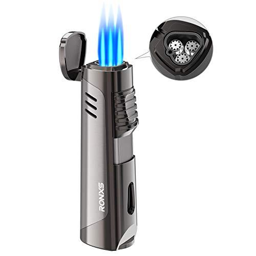 RONXS Sturmfeuerzeug, 3 Jet Feuerzeug Sturmfeuerzeug, Gasfeuerzeug Gas nachfüllbar, Kein Gas enthalten mit Geschenkbox (ohne Gas)