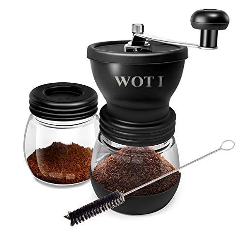 WOT I Kaffeemühle Manuell aus Glas mit Keramikmahlwerk Verstellbaren Hand-Kaffeemühle Geschenkverpackung Verfügbar - mit zusätzlichem Vorratsglas