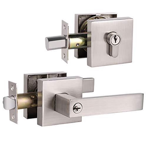 GOBEKOR 1 Keyed Alike Front Door Lever Lockset with Double Cylinder Deadbolt with Same Key, Satin Nickel Finished,Square Rosette