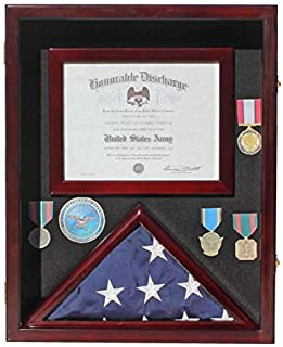 """Flag Display Case Pin Medal Shadow Box with Certificate/Letter Holder for 3 x 5 ft Flag, 21.75"""" H X 17.5"""" W Overall"""