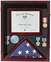 Flag Display Case Medal Shadow Box with Certificate & Document Holder for 3 x 5 ft Flag Folded, Frame Size 21.75