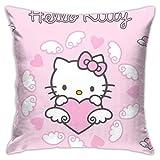 TBLHM Hello Kitty - Funda de cojín cuadrada con diseño de alas voladoras de 45,7 x 45,7 cm para coche, sala de estar, sofá, dormitorio, funda de almohada con cremallera oculta, decoración del hogar