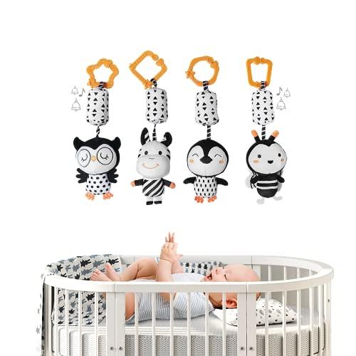 E-More Sonajero recién Nacido,4 Pack Cochecito para niños Cochecito de bebé Juguetes Colgantes para bebés,Suaves AnimalesJuguetes para bebés Regalos de cumpleaños
