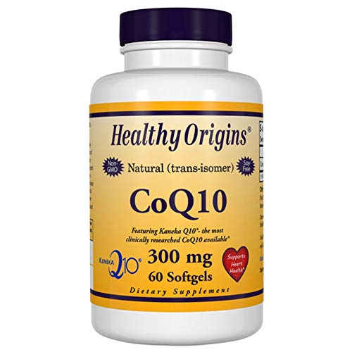 Co Enzyme Q10 300mg 60 Softgels, Super Strength Coenzyme Q10 Supplement, Naturally Fermented High Absorption CoQ10, Keneka Q10 Ubiquinone for Heart Health by Healthy Origins