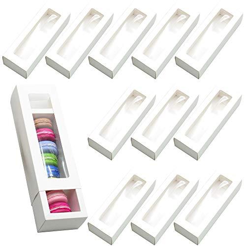 afdg Macaron Box, 12 Stücke Macaron Verpackungsboxen mit Klarem Fenster, Gebäckverpackungsbox für Kekse, Süßigkeiten, Kleine Brote, Donuts (Weiß)