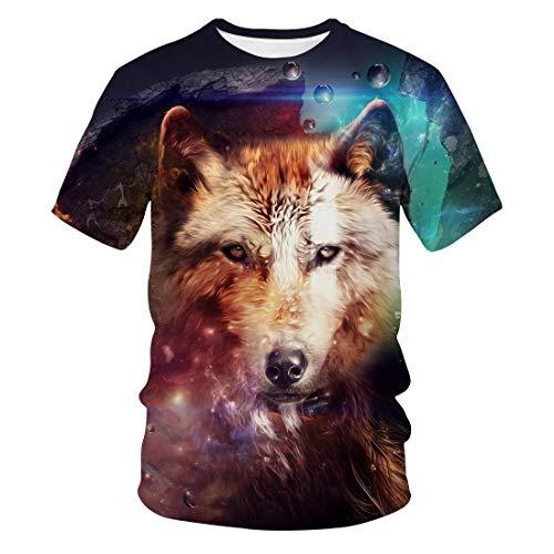 3D Wolf Pack Digital Bedrucktes T-Shirt Sommer Casual Herren Kurzarm Paar Tops