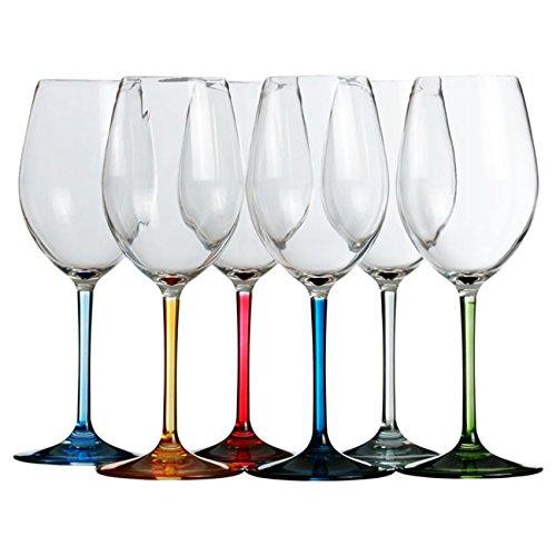 Marine Business Party Copas DE Vino/Agua, Transparente y Multicolor, 5.5 cm, 6 Unidades