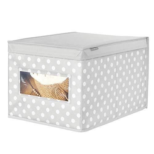mDesign Caja con tapa grande con estampado de puntos – Cajas apilables para guardar ropa o zapatos – Cajas para armarios con tapa y ventana – gris/blanco