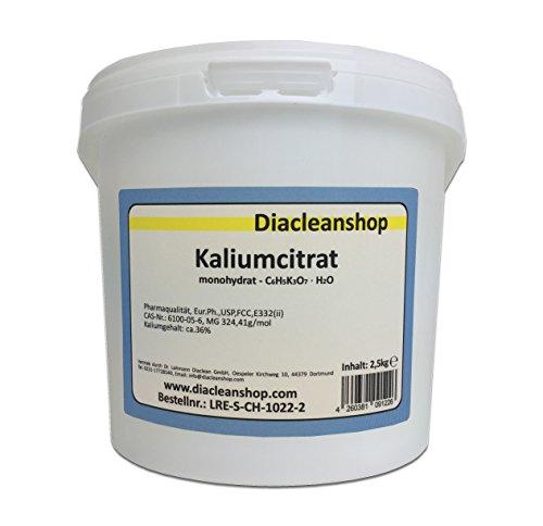 Kaliumcitrat Monohydrat 2,5kg - Kaliumgehalt 36% - Pharmaqualität mind. 99% - Pulver - E332