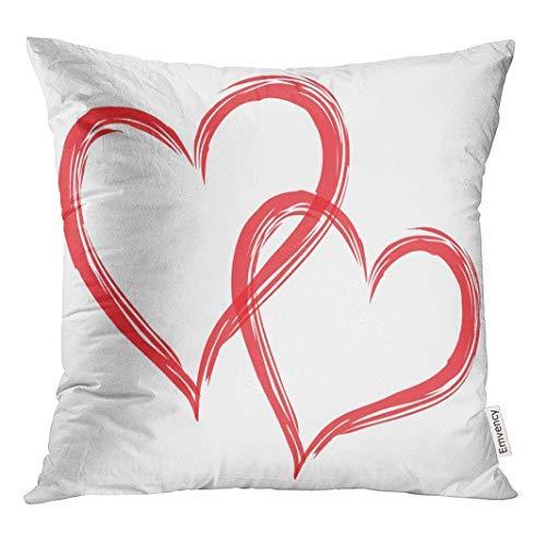 GFGKKGJFD313 Funda de almohada decorativa cuadrada, 18 x 18 cm, diseño de corazones rojos con forma de pareja en el amor, para cojines, fundas de almohada decorativas cuadradas para sofá, accesorios para el hogar, regalos