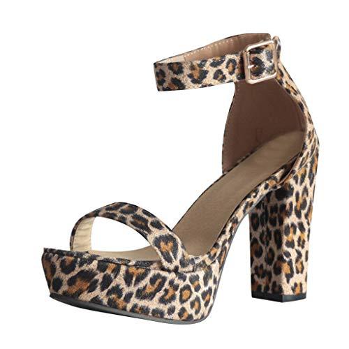 Lowest Prices! KANGMOON Womens Leopard Pumps, Summer Ladies High Heels Roman Sandals Open Toe Buckle...