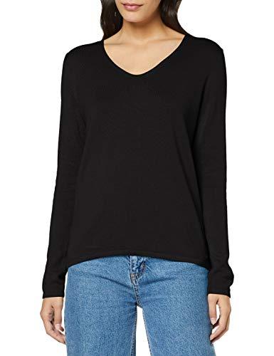 TOM TAILOR Damen Basic V-Neck Pullover, 29999-Black, L