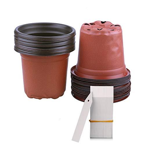 KINGLAKE 100 vasi di plastica per Piante, Fiori e per la Semina, di 10 cm di Diametro, Perfetti per Il Giardinaggio