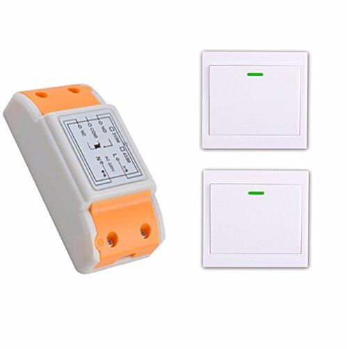 C 220 V 1 canal rf radiocontrol mando a distancia mando a distancia inalámbrico Interruptor 1 receptor + 2 Transmisor mando a distancia con pasta RF inalámbrica
