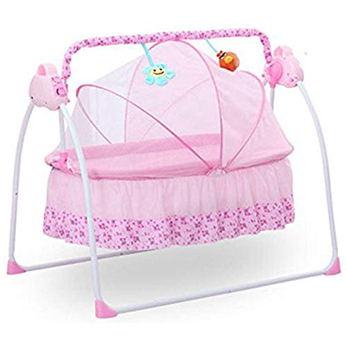 LOYALHEARTDY Electric Auto-Swing Big Bed Baby Cradle Baby Bed Infant Cradle Infant Bed Space Safe Crib Infant Rocker Cot + Mat (Khaki) (Pink)