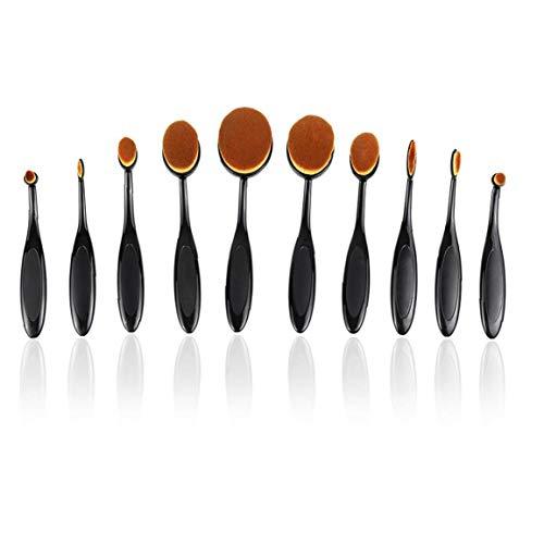 XKJFZ 10PCS Make-up-Pinsel-Set Weich Oval Zahnbürste Shaped Foundation Contour Pinsel Powder Blush Conceler Eyeliner Blending Bürsten-kosmetische Bürsten-Werkzeug-Set