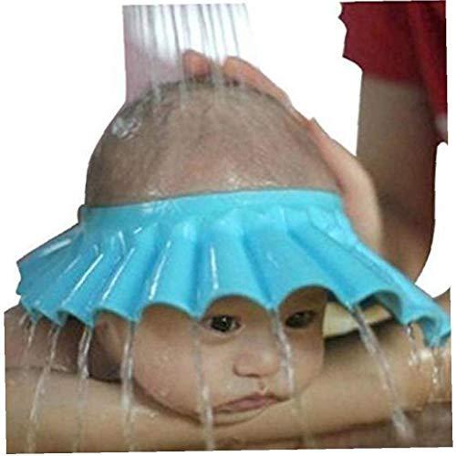 Dusche Badekappe Sichere Shampoo-Hut Für Kleinkind, Baby Zu Halten Das Wasser Aus Den Augen Und Gesichtsschutz (blau)