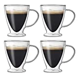 Jucoan 4 Pack Glass Espresso Mugs, 10 oz Double Walled Insulated Glass Coffee Mug Tea Cup with Handle for Latte, Americano, Cappuccinos, Tea Bag, Beverage
