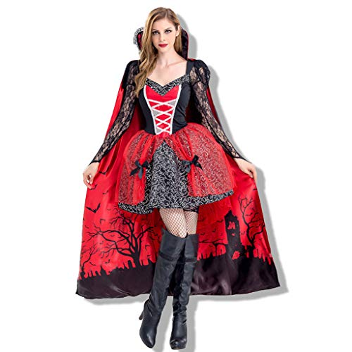 jin&Co Women's Halloween Cosplay Costume Sexy Retro Cloak Ball Gown Party Dress Lace Dress Halloween Dress Outfit