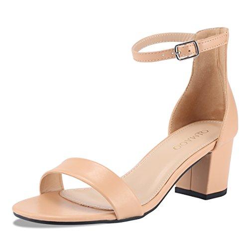 Qimaoo Damen Pumps 7cm High Heels Elegant Abendschuhe Sandalen Sommer Schuhe mit Absatz, Gr.- 37 EU, Beige-klassisch