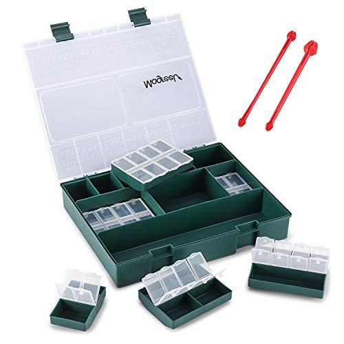Magreel Aufbewahrungsbox Angelzubehör mit 6 kleine Kisten (4 groß & 2 klein), Professionelle Angelkasten