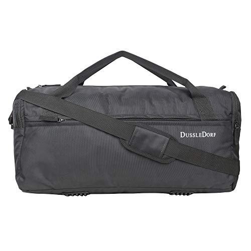 DUSSLE DORF Polyester 35 liters Water Resistant Heavy Duty Gym/Trekking/Travel/Sports Duffel/Duffle Bag with Multi Pockets (Black)