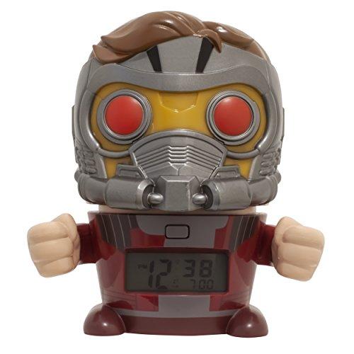 BulbBotz Marvel 2021746 Avengers: Infinity War Star-Lord Kinder-Wecker mit Nachtlicht und typischem Geräusch , rot/silber , Kunststoff , Höhe: 14Zentimeter , LCD-Display , Junge/Mädchen , offiziell