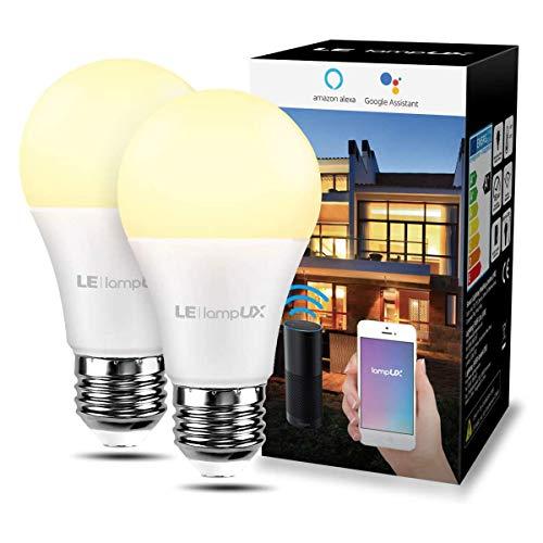 LE 9W Smart E27 LED Lampen, Warmweiß, 806LM, Dimmbar LED Leuchtmittel, WLAN LED Birnen, Ersatz für 60W Glühbirne, kompatibel mit Alexa und Google Home, 2,4 GHz, Kein Gateway erforderlich, 2 Pack