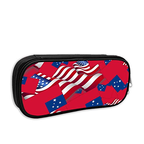 Timdle Samoa Flag with America Flag Pencil Case Pouch Bag Multifunction Cosmetic Makeup Bag School Office Storage Organizer