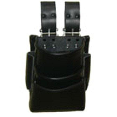 チェーン式蝶番付黒革3段式腰袋 BT-204BC