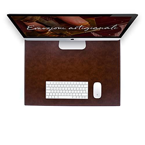 Vade de escritorio para escritorio de oficina y alfombrilla para ordenador portátil, de piel artesanal – 65 x 45 cm – Fabricado en Italia   FP piel – Dante (marrón)