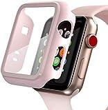 PZOZ Kompatibel mit Apple Watch 38mm Series 3/2 Hülle mit PET Bildschirmschutz, iWatch Sehr stark PC Schutzhülle, Superdünner kantenschutz case Bumper, zubehör Geeignet für Apple Smartwatch(38mm, Rosa)