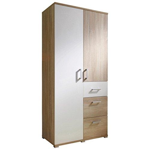 AVANTI TRENDSTORE - Claudio - Armadio spazioso per stanza da bambini, in laminato di quercia Sonoma e bianco, dimensioni: LAP 90x198x53 cm